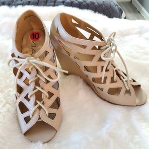 MIA QUINCY LACE UP OPEN TOE WEDGES